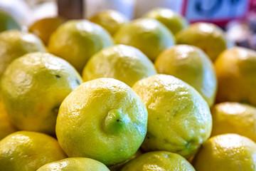 An Abundance of Lemons on a Market Stall