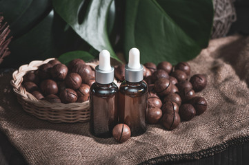 Macadamia oil in bottles and macadamia nuts ,  vintage rustic style .  Bio, organic , nature cosmetics concept