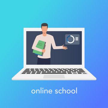 Teaching online concept for online school. Vector laptop on blue background. Vector illustration