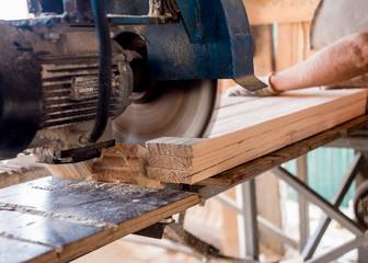Obraz Modern sawmill. A carpenter works on woodworking the machine tool. - fototapety do salonu