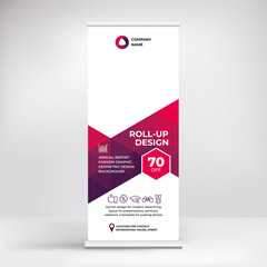 Roll-up banner design, layout for advertising, conferences, seminars, poster template for placing photos and text. Creative background for presentation