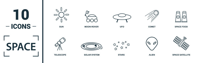 Space icon set. Include creative elements earth planet, stars, spaceship, spacemen, telescope icons. Can be used for report, presentation, diagram, web design