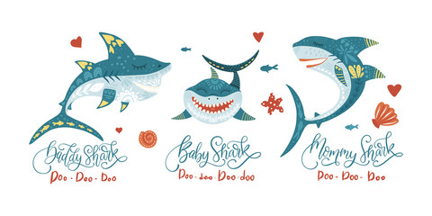 Cartoon Vector Shark Illustration - Sea Fish Set - Ocean Animal Shark Family Collection with lettering quotes - Baby Shark - Mommy shark - Daddy shark. Trendy design for cute cards, posters.