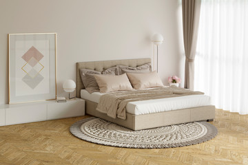 Cozy beige bedroom with a picture, lamps, nightstands, round carpet. 3d illustration