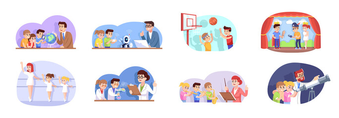 After school flat vector illustrations set. Interest classes for children. Extracurricular activities. Advanced training for schoolchildren. Kids go in for sports, science and art cartoon characters
