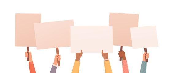 Hands holding posters. Place for text or ad. Collection of hands holding empty signs. Vector illustration