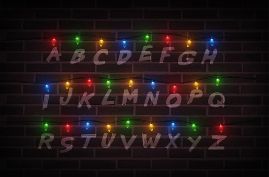 Christmas lights on wall. Light font. Garlands. Vector Illustration