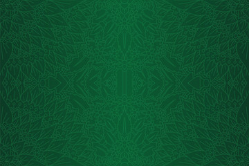 Green art with linear floral seamless pattern