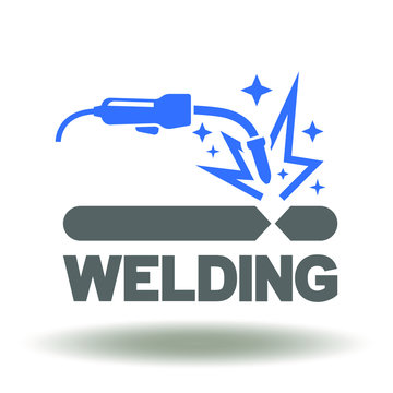 Welding Steel Industry Manufacturing Construction Logo. Welding torch spark icon vector.
