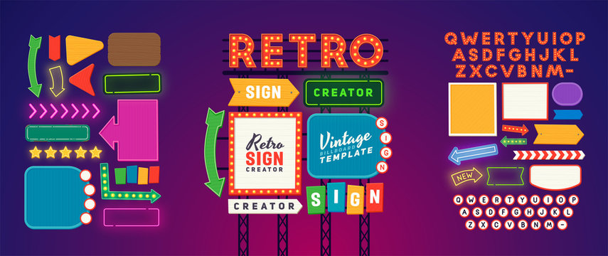 Retro signboard creator. Set elements for street sign. Scene creator, neon sign. Retro font. Advertising space.