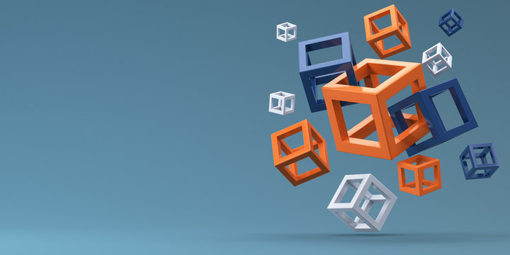 Many flying cubes of different sizes on a blue background. 3d render.