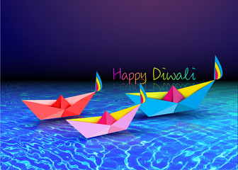 Happy Diwali Celebration in Origami style Graphic design of Indian Diya Oil Lamps in boat bath toy shape, folded paper Flat Design. Colorful Festival of Lights. Vector isolated on sea background