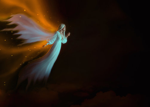 deceased Soul flies in heaven to meet with relatives. A blond woman in a white waving dress with wings in the image of a bright angel with a warm glow. Ghost Levitation. Celebrate Dia de los Muertos