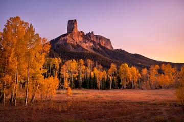 Fall colors at Chimney Rock in Owl Creek Pass near Ridgeway, Colorado