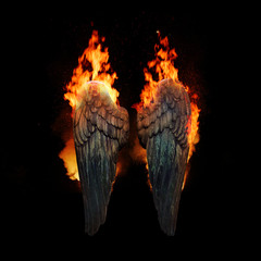 Burning angel wings, dark atmospheric mood, fantasy background
