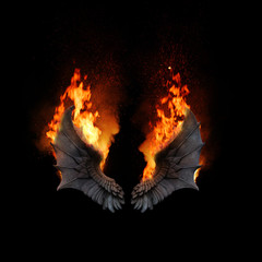 Burning dragon wings, dark atmospheric mood, fantasy background