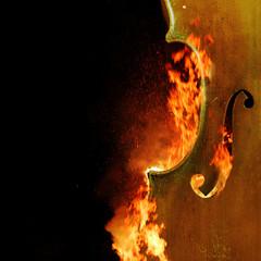 Burning cello, dark atmospheric mood, music instrument fantasy background