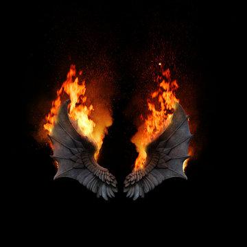 Burning dragon wings, dark atmospheric mood, fantasy background