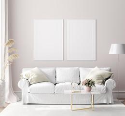 Mock up poster frame in modern interior background, Scandinavian style, 3D render