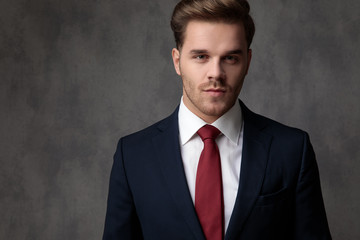 Close up of a positive young businessman