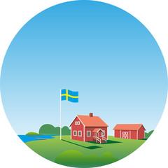 Symbolgrafik Schweden Bauernhof