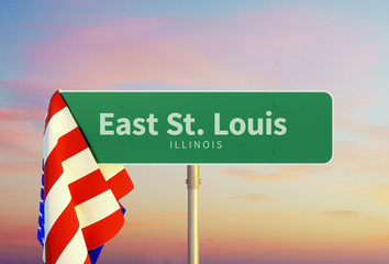 East St. Louis – Illinois. Road or Town Sign. Flag of the united states. Sunset oder Sunrise Sky. 3d rendering