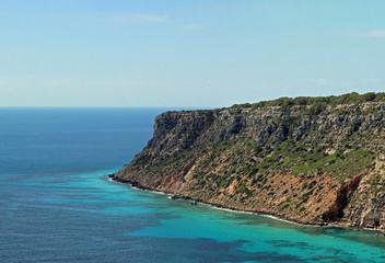East coastline cliff of balearic island Formentera