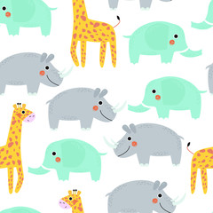 Seamless pattern with Rhino, giraffe and elephant. Vector illustration, for printing on t-shirts, postcards, pictures, fabric, tableware, packaging paper. Cute children background.
