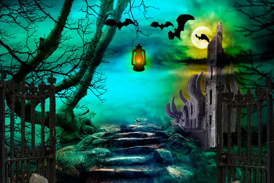 Halloween night background. Castle in spooky forest with flying bats.