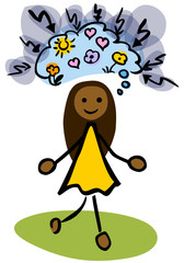 Female African-American stick person thinking positive by jziprian