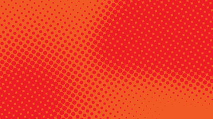 Red and orange pop art retro background with halftone dotted design in comic style, vector illustration eps10