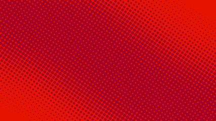 Modern red and crimson pop art background with halftone dots in comic style, vector illustration eps10