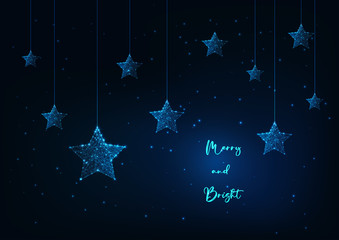 Merry Christmas greeting card with glowing low polygonal hanging stars and text on dark blue.