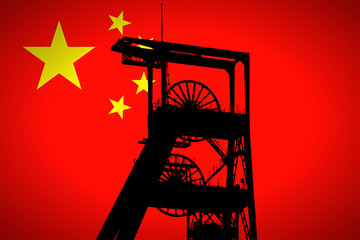 Concept Illustration With Chinese Flag in the Background And Coal Mine Ferris Wheel SIlhouette in the foreground