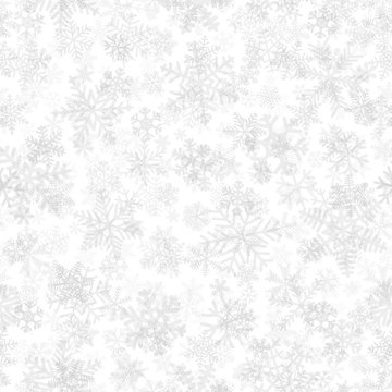 Christmas seamless pattern of snowflakes, gray on white background