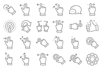 Touchscreen gesture line icons. Hand swipe, Slide gesture, Multitasking icons. Touchscreen technology, tap on screen, drag and drop. Smartphone mobile app or user interface. Line signs set. Vector Wall mural