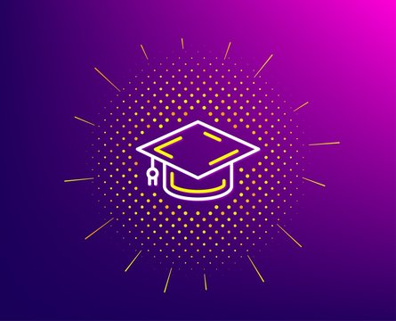 Graduation cap line icon. Halftone pattern. Education sign. Student hat symbol. Gradient background. Graduation cap line icon. Yellow halftone pattern. Vector