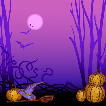 purple helloween background with pumpkins, broom and witch hat