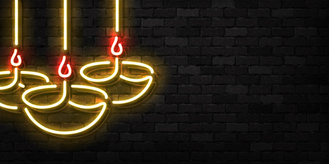 Vector realistic isolated neon sign of Diwali flyer logo for template decoration and invitation covering on the wall background.