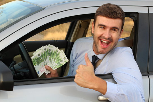 Smart man driving and making money