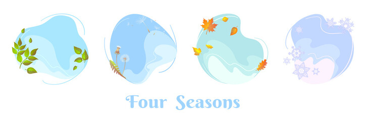 Four seasons sky round concepts. Spring foliage, summer dandelion blowball, autumn leaf, winter snowflakes. Flat design template for seasonal sale banner, calendar, poster. Isolated circle frames