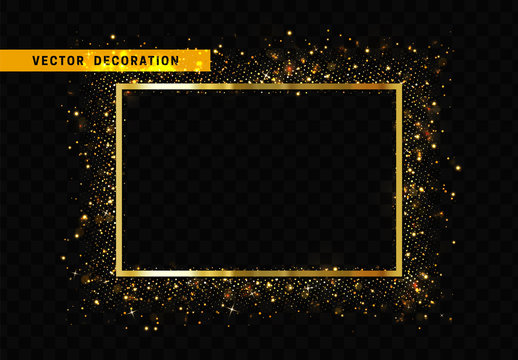 Gold frame with glowing lights and sparkle bokeh effects, isolated on background. Shining golden glitter rectangle. Luxury premium design template.