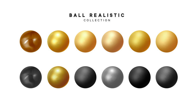 Set of 3d render balls. Round Sphere, geometric objects, pearl made of metal and plastic. Balls matte and glossy, gold and beige, black brown, silver colors. vector illustration