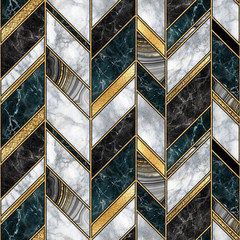 Poster Geometric seamless abstract art deco background, modern mosaic inlay creative texture, marble granite agate gold, artistic painted marbling, artificial stone, marbled tile surface, fashion marbling illustration