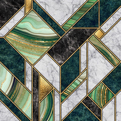 Poster Geometric modern abstract marble mosaic background, art deco wallpaper, artificial stone texture, green gold marbled tile, geometrical fashion marbling illustration