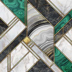 Poster Geometric abstract background, modern marble mosaic, art deco wallpaper, artificial malachite agate stone texture, black white gold marbled tile, geometrical fashion marbling illustration