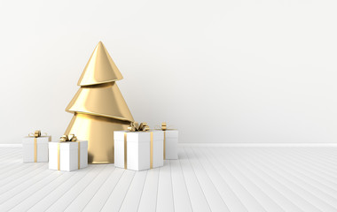 New year celebration interior background. Golden xmas tree and gift box on the floor. Realistic illustration for New Year's and Christmas banners. 3d render