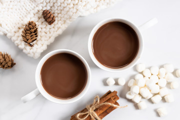 Printed roller blinds Chocolate White ceramic cups of hot cocoa on top of white marble background, top view