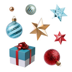 3d Christmas clip art. Set of design elements, isolated on white background. Gift box, golden star, red and blue glass balls ornaments.