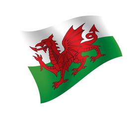 Fototapeta Wales flag waving isolated vector illustration obraz